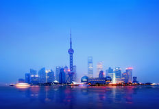 The Bund in Shanghai. At Night Stock Photos