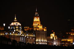 The bund of shanghai. Shanghai china midnight bund the huangpu river night view historic buildings Stock Images