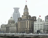 The Bund in Shanghai. City view of the Bund, an area of the Huangpu District in Shanghai, a city in China,The buildings in the foreground from left to right are Stock Images