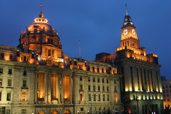 The bund - Shanghai. Classic Buildings at night at the Bund - Shanghai - China Royalty Free Stock Photography