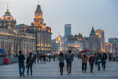 The Bund Shanghai, China. People walking at the Bund in Shanghai, China, in the evening Stock Images