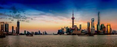 Bund Shanghai Lujiazui Royaltyfri Fotografi