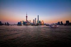 Bund Shanghai Lujiazui Fotografering för Bildbyråer