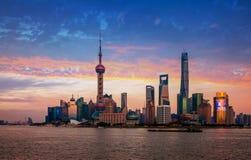 Bund Shanghai Lujiazui Arkivbild