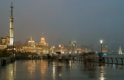 Bund in Shanghai at night Royalty Free Stock Photos