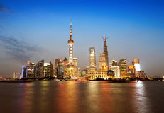 The Bund in Shanghai. At Night Royalty Free Stock Photo