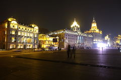 The bund of Shanghai at night Royalty Free Stock Image