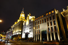 The bund of Shanghai at night Stock Photography