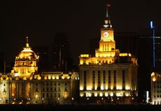 The Bund in Shanghai at night Stock Photo