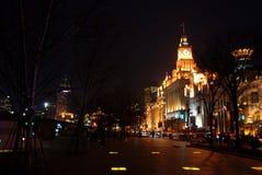 The Bund of Shanghai at night. The Bund, a historical city center of Shanghai illuminated at night, China Royalty Free Stock Images