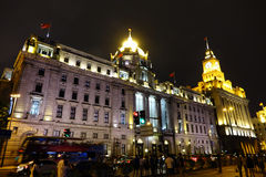 The bund of Shanghai at night Stock Images