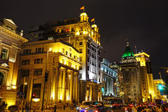 The bund of Shanghai at night Royalty Free Stock Images