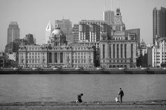 Bund Shanghai w czarny i biały Zdjęcia Stock