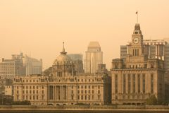 The Bund skyline across the Huangpu river from Pudong in Shanghai. The Bund skyline across the Huangpu river from Pudong, Shanghai, China, Asia Stock Images