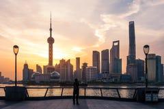 Bund Sunrise April 16 2018 in Shanghai China Royalty Free Stock Photos