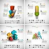 4 in 1 Bundel Bedrijfs van Infographics Royalty-vrije Stock Fotografie