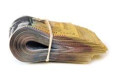 Bundel van Australisch die Geld op Wit Zijaanzicht wordt geïsoleerd Royalty-vrije Stock Foto