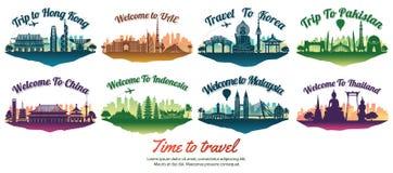 Bundel van beroemd oriëntatiepunt van Azië met silhouetstijl op vlottereiland, reis en toerisme vector illustratie
