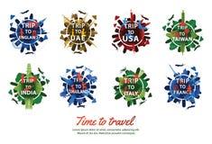Bundel van beroemd oriëntatiepunt van de stijl van het wereldsilhouet rond tekst met kleurrijk toon, reis en toerisme royalty-vrije illustratie