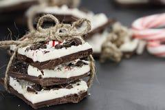 Bundel van de Schors van de Chocoladepepermunt Royalty-vrije Stock Afbeeldingen