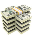 Bundel van dollars op een witte achtergrond Stock Foto's
