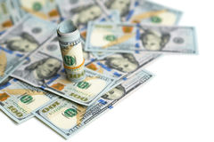 Bundel van dollars in rekeningen het morsen Royalty-vrije Stock Foto's