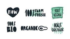 Bundel van etiketten met het met de hand geschreven van letters voorzien voor ruw, landbouwbedrijf, organische en veganistproduct stock illustratie