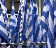 Bundel van Griekse vlaggen royalty-vrije stock foto's