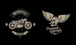 Bundel van het motorfiets de uitstekende embleem vector illustratie