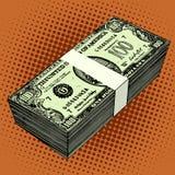 Bundel van honderd-dollar rekeningen Stock Foto's