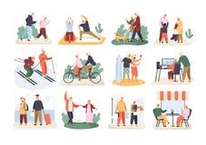 Bundel van leuke grappige actieve bejaarde die paren op witte achtergrond worden geïsoleerd Inzameling van recreatieve en gezonde vector illustratie