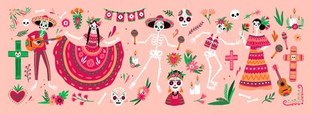 Bundel van Mexicaanse Dia DE los Muertos symbolen - skeletten gekleed in nationale volkskostuums die gitaar, maracas spelen of vector illustratie