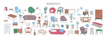 Bundel van modieus en op z'n gemak modern meubilair, meubilair en huisbinnenhuisarchitecturen van in Skandinavisch of hygge vector illustratie