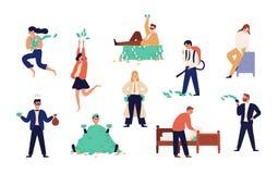 Bundel van rijke mannen en vrouwen op witte achtergrond worden geïsoleerd die Reeks achteloze rijke mensen, moneybags of nouveau  stock illustratie