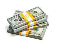 Bundels van 100 Amerikaanse dollars 2013 uitgavenbankbiljetten Stock Afbeeldingen