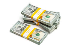 Bundels van 100 Amerikaanse dollars 2013 uitgavenbankbiljetten Stock Afbeelding