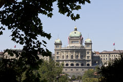 Bundeshaus. The Swiss government building Bundeshaus or Federal Palace of Switzerland on the 1st August of 2011, the 720th anniversary of the founding of royalty free stock image