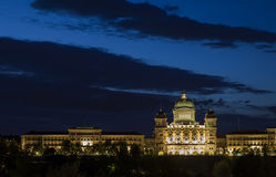 Bundeshaus. The brightly lit Bundeshaus or Federal Palace of Switzerland at dusk, Bern, Capital City of Switzerland, Europe stock photography