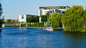 Bundeskanzleramt in Berlin, Germany. Timelapse video with boats on the spree river in front of the german chancellery (Bundeskanzleramt), in berlin, germany stock video footage