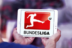 Bundesliga , german football league logo. Logo of bundesliga , german league on samsung tablet royalty free stock photography