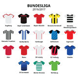 Bundesliga jerseys 2016 - 2017, German football league icons Stock Photos