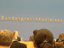 Bundespressekonferenz - Official Press Conference of the German Government Stock Images