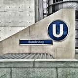 Bundestag Logo on Cement Wall Royalty Free Stock Photography