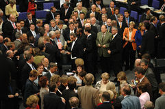 Bundestag No Confidence Vote 2005. JULY 1, 2005 - BERLIN: members of the German parliament, the Bundestag during a no-confidence vote against the Schroeder royalty free stock photo