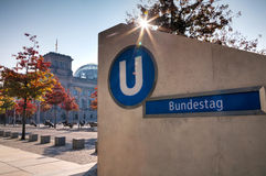 Bundestag underground sign in Berlin Stock Image