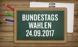 Bundestagswahlen, élections fédérales allemandes, sur le tableau noir Image libre de droits