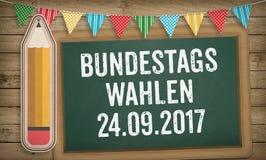 Bundestagswahlen, élections fédérales allemandes, sur le tableau noir Photos libres de droits