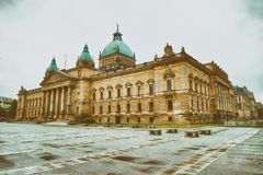 Bundesverwaltungsgericht in Leipzig. Justice Palace on a cloudy. Day Stock Photography