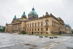 Bundesverwaltungsgericht in Leipzig. Justice Palace on a cloudy. Day Stock Image