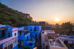 Bundi cityscape at sunset. The majestic city palace on Lake Pichola, travel destination in Rajasthan, India Stock Images